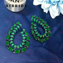 HIBRIDE Beautiful Olive Branch Green Cubic Zirconia Women Stud Earring Trendy European Style Earring Brincos Female Gifts E-554 co e olive