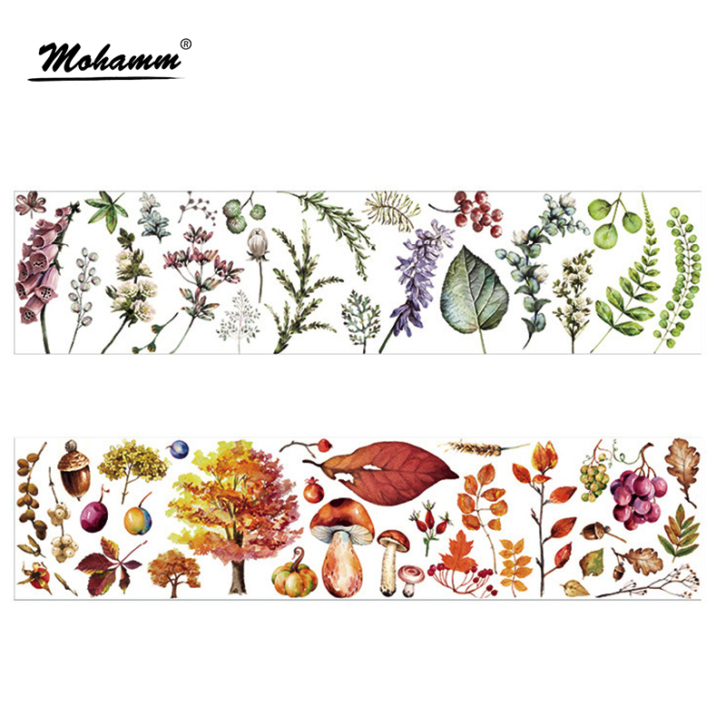 90mm Width Creative Cute Kawaii Four seasons Plants Decorative Washi Tape DIY Scrapbooking Masking Tape School Office Supply colorful gilding hot silver alice totoro decorative washi tape diy scrapbooking masking craft tape school office supply