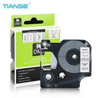 TIANSE 6pcs 45013 Black on White 12mm (1/2) x 7m used for Dymo Label Printer for DYMO Label Manager 160 Printer Ribbon