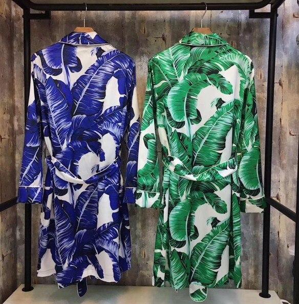 50fac7762d New Fashion Autumn Women Long Bathrobe Banana Leaves Printed Night Robe  Satin Silk Sleepwear Nightwear Home Dress-in Robes from Underwear    Sleepwears on ...