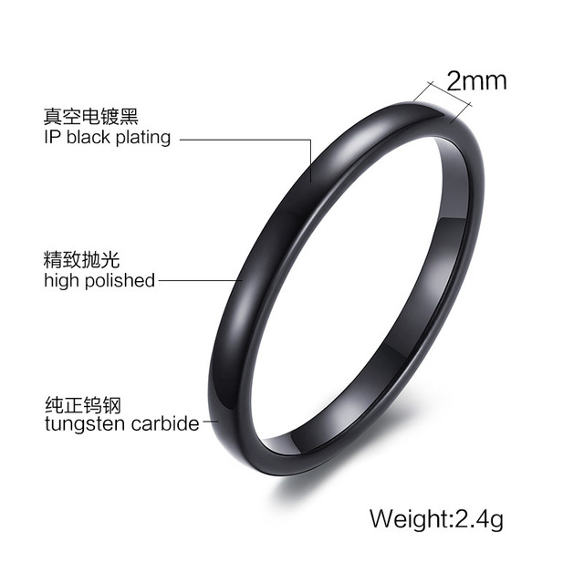 Fashion Lady Tungsten Steel Ring Light Small Rings For Women Female Woman Jewelry Carbide