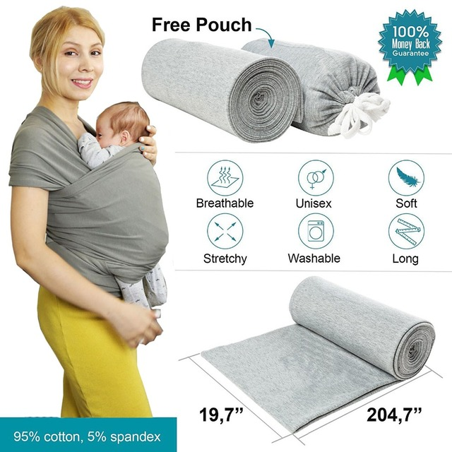 Baby Sling Stretchy Wrap Carrier Adjustable Infant Comfortable Breathable Baby Slings Kangaroo Cotton Stripe Baby Wrap Carrier