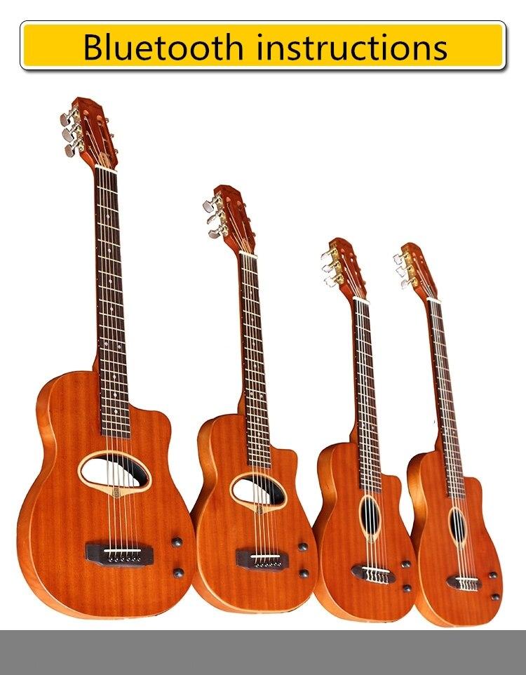 Électrique Folk Classique Silencieux Guitare Guitarra Acoustique 6 Chaîne 36 41 Pouces Acajou Bluetooth Voyage Plein Solide Coupe