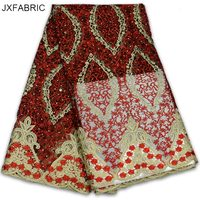 JXFABRIC African French Lace Fabric High Quality 2017 Fashion Nigerian Wedding African Lace With Stones Lace