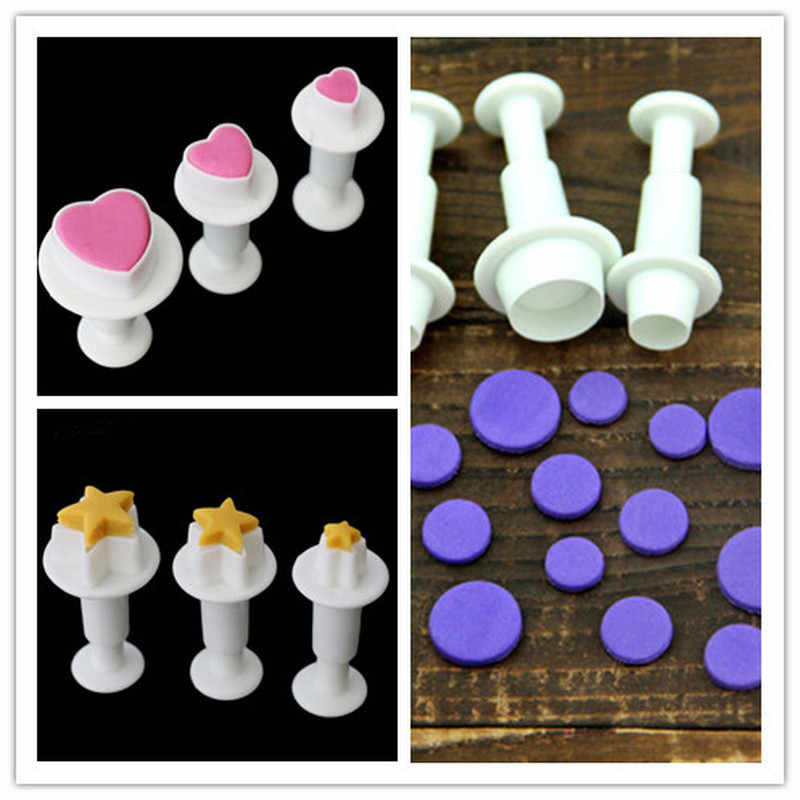 3Pcs/Set Fondant Cookie Cake Cutter Ejector Stamp Plunger Cutters Mold Embossed Star DIY Kitchen Baking Cake Decorating Tools