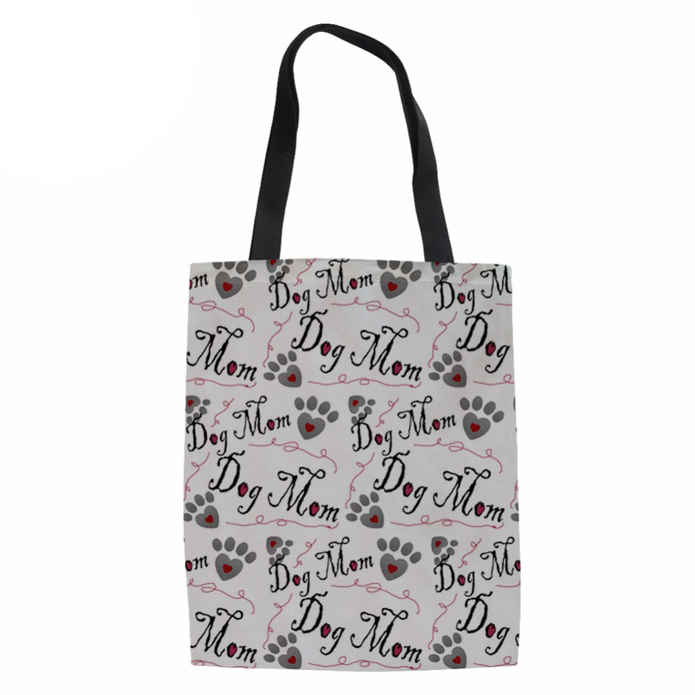 Noisydesigns Women Casual Reusable Tote Shopping Bag Summer Beach Handbag Dog Bone Paw Printing Shoulder Bags Rescue Dog ...