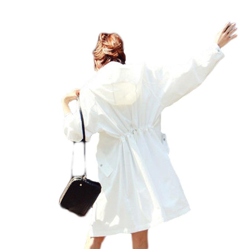Trench Clothing Women Hooded Trench Coats New Loose Sun Protection Clothing Women Clothing White Hooded Coats Women Windbreaker