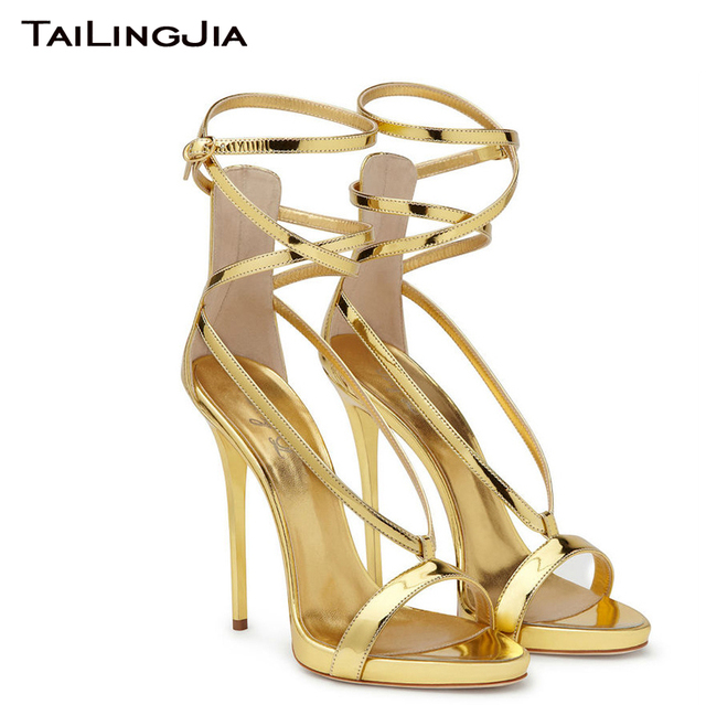 High Quality Gold Patent Leather Open Toe Women Shiny Sandals Woman Shoes Gross Tied Party Evening Dress Shoes Free Shipping