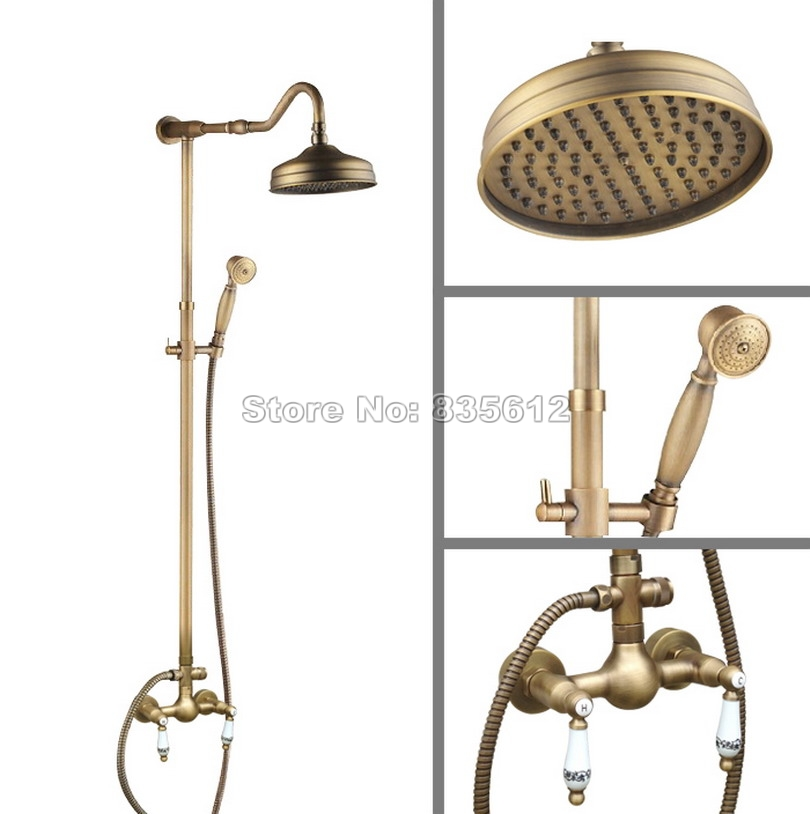 Ceramic Dual Handles Bathroom Antique Brass Mixer Tap Wall Mounted Rain Shower Faucet Set with Handheld Shower Head Wan502Ceramic Dual Handles Bathroom Antique Brass Mixer Tap Wall Mounted Rain Shower Faucet Set with Handheld Shower Head Wan502