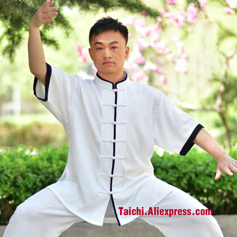 Tai Chi Clothing Male Cotton Short Sleeved Sport Clothes Style Taijiquan Summer Clothing Middle-aged Morning Suit