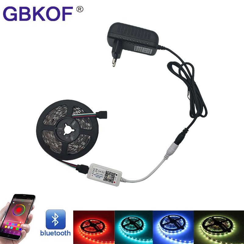 10M 5M RGB LED Strip SMD 5050 Light Flexible Ribbon IP65 Waterproof led Tape+ Bluetooth Remote Control DC 12V Power Adapter kit
