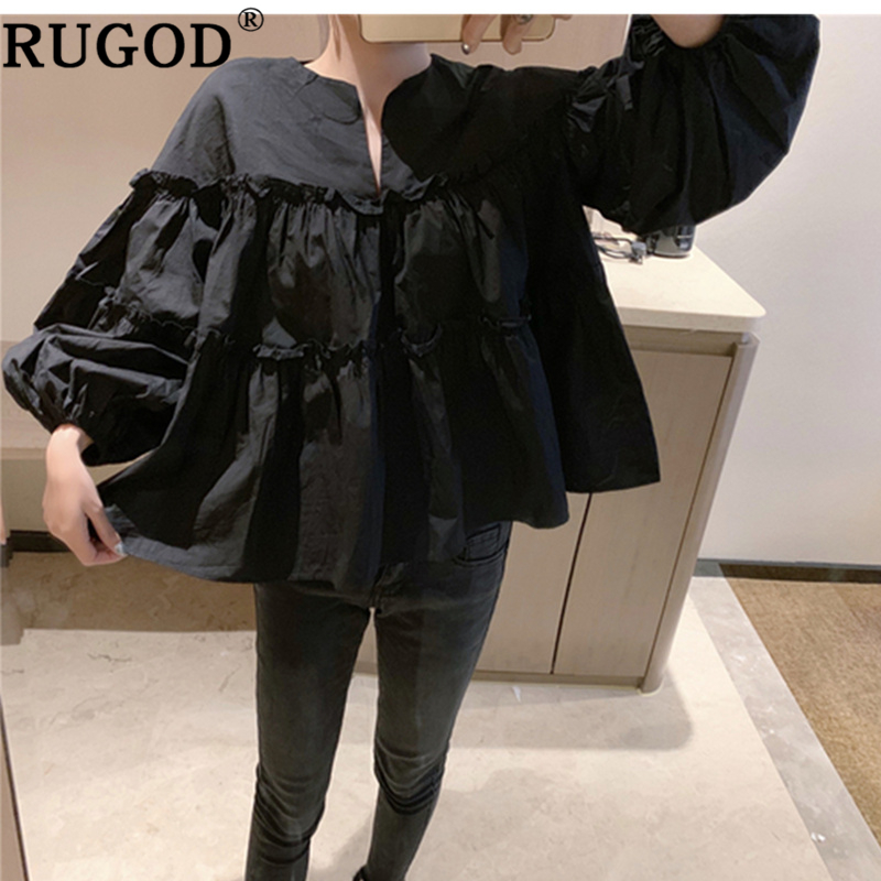 RUGOD 2019 Plus Size Loose Women Blouses Lantern Sleeves Summer Tops And Shirts Vintage Solid Casual Fashion Modis Camisas Mujer
