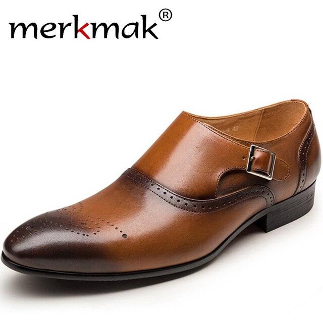 Merkmak Männer Kleid Schuhe Vintage Brogue Oxford Schuhe Fashion Echtes Leder Doppel Mönch Schnalle Schuhe Hochzeit Formale