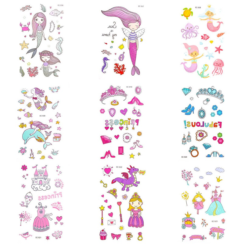 fcab000a41448 Detail Feedback Questions about 2Pcs/Set Cartoon Mermaid Tattoo Sticker  Boys Girls Fake Tattoo Body Art Temporary Tattoo Stickers for Kids Taty  Tatouage on ...