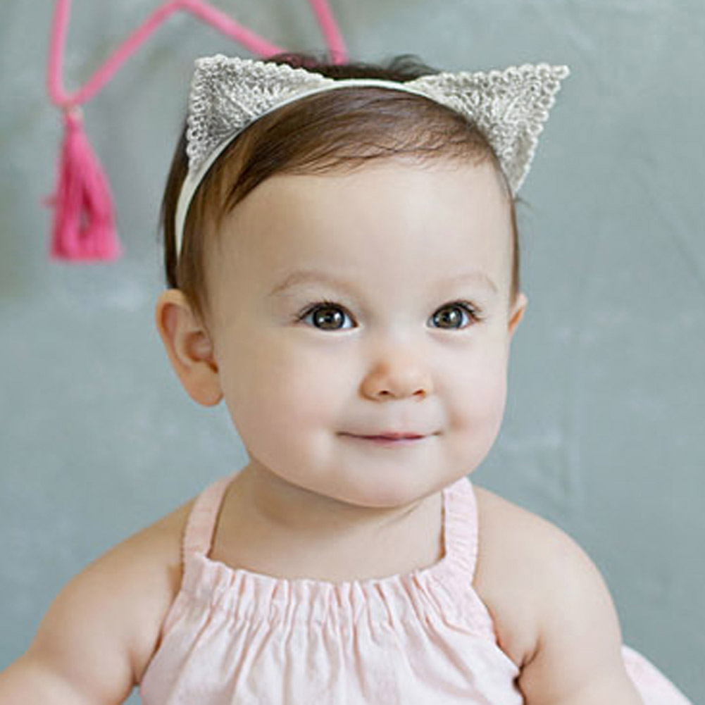 Baby Headband Cat Ears Headband Delicate Lace Children Hair Ornaments 475987bb928