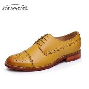 Image 4 - Yinzo נשים דירות אוקספורד מקורית של נעלי עור סניקרס גבירותיי נעלי בציר נעליים יומיומיות נעלי לנשים הנעלה 2020