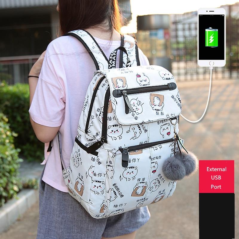 7bb9d60e1c55 FengDong female fashion school backpack usb school bags for girls white  backpack plusch ball teenage girl schoolbag mochila