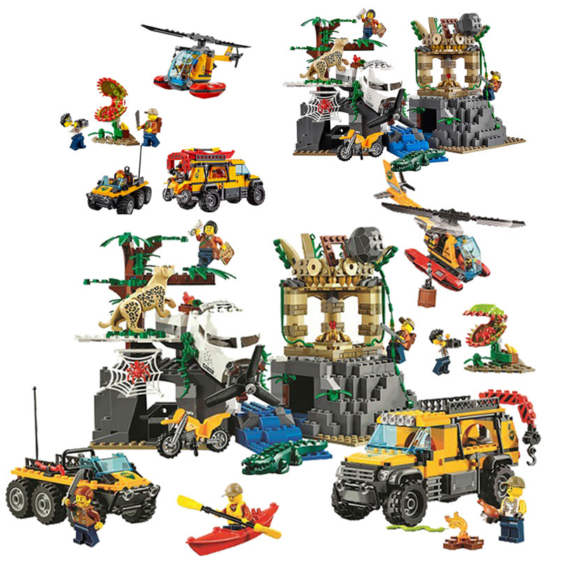 11.11 NEW City Jungle Explorers Jungle Exploration Building Blocks Sets Bricks Classic Model Kids Toy Compatible Legoings 857pcs city jungle explorers exploration site wild animals 02061 model building blocks assemble toys bricks compatible with lego