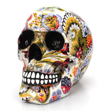 Kreatywny kolorowy wzór czaszki ozdoby żywica Halloween Horror nowoczesna czaszka statua osobowość Home Decoration 301-0728 tanie tanio Żywica Tv movie postaci Europa