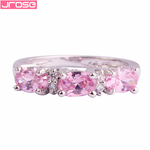 JROSE Wholesale Oval Cut Pink White Cubic Zirconia Fashion Classic Silver Ring Size 6 7 8 9 10 11 12 For Women Wedding JEWELRY