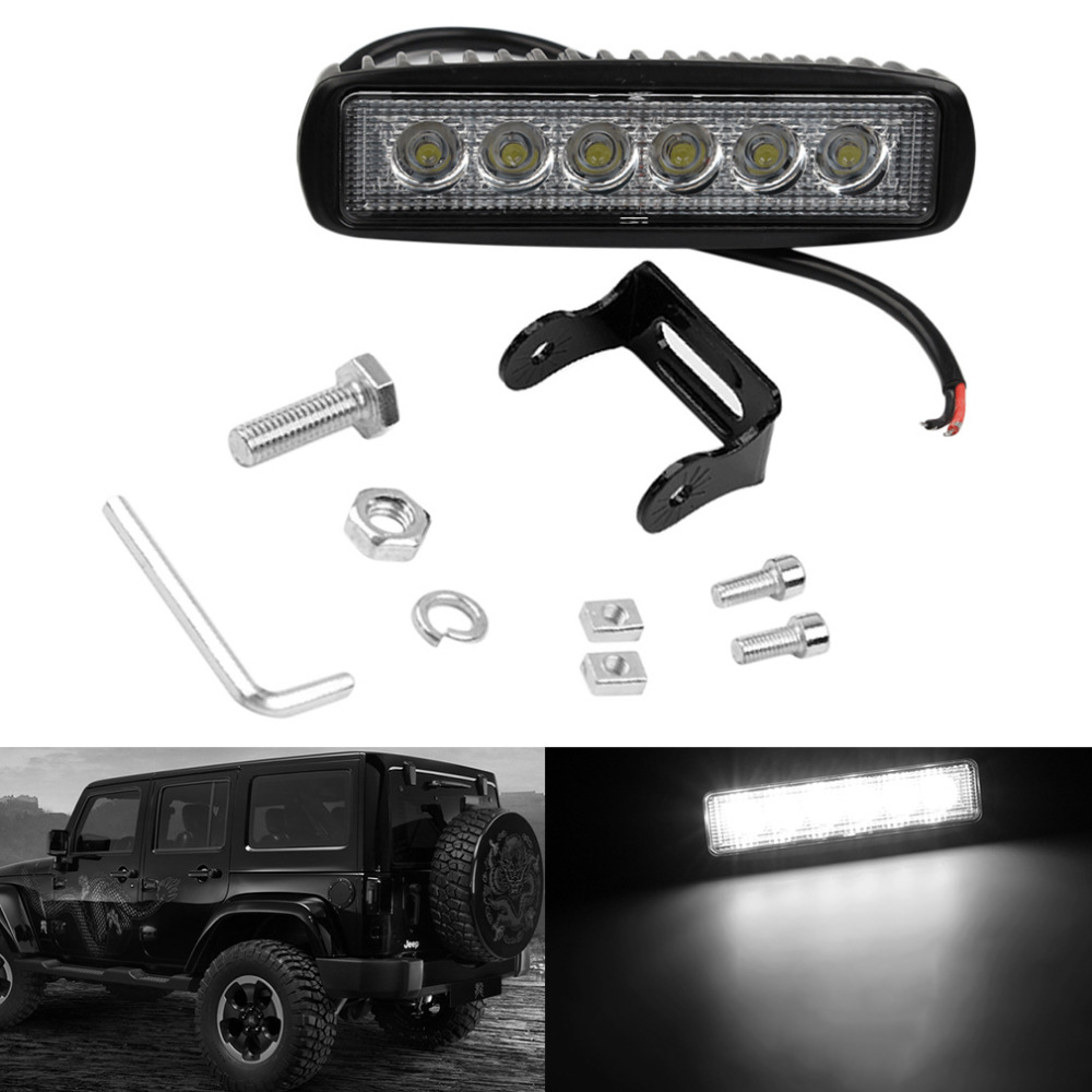 1PCS Automobiles New Car-Styling Truck 18W 6 SMD LED Work Light Bar Reversing Flood Worklight Lamp for Jeep Boat 4WD 12V 24V