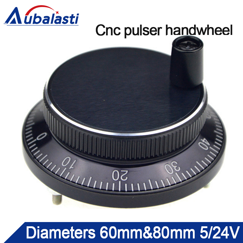 Cnc pulser handwheel Diameter 60mm or 80mm Pulse 100 Voltgae 5v-24v 4pins CNC machine Manual Pulse Encoder Generator цены