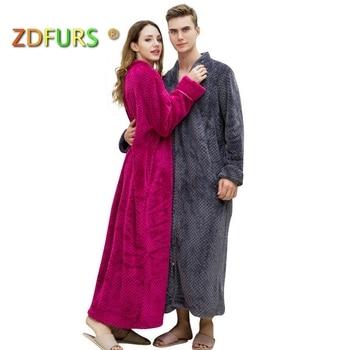 ZDFURS   Women Plus Size Winter Thermal Long Bathrobe Thick Flannel Warm  Kimono Bath Robe Dressing Pregnant Bridesmaid Robes 9cf3be823