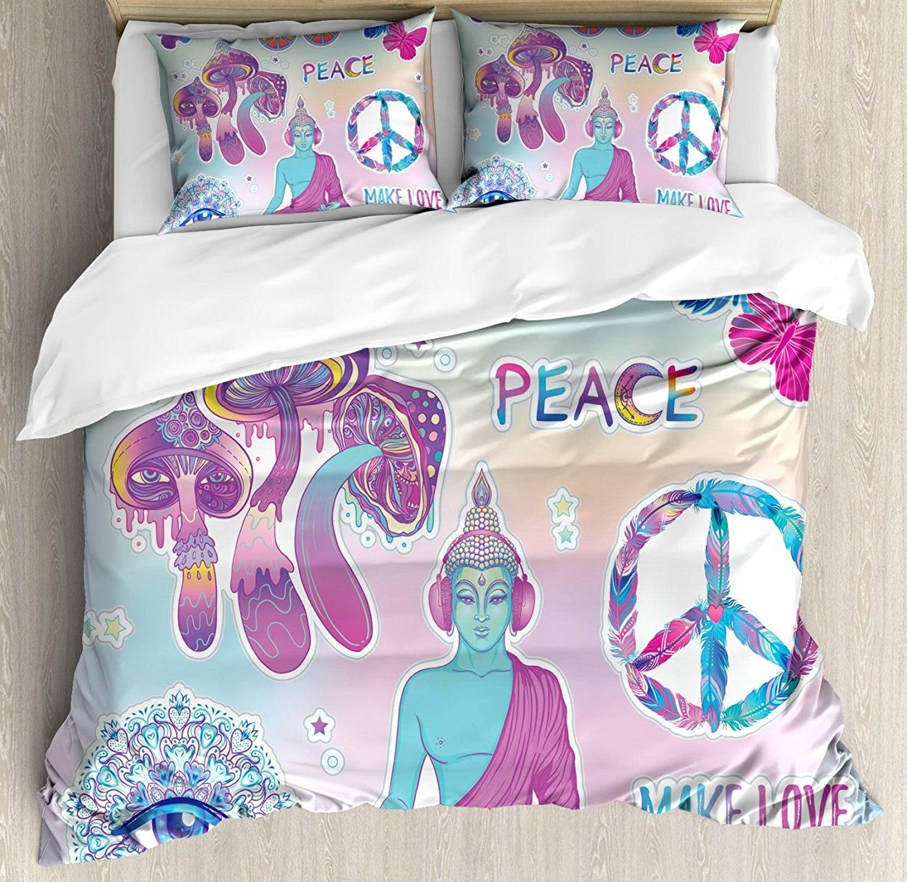Ensemble housse de couette, champignons psychédéliques trippant tous voir Mandala papillons paix faire l'amour imprimer, ensemble de literie 4 pièces