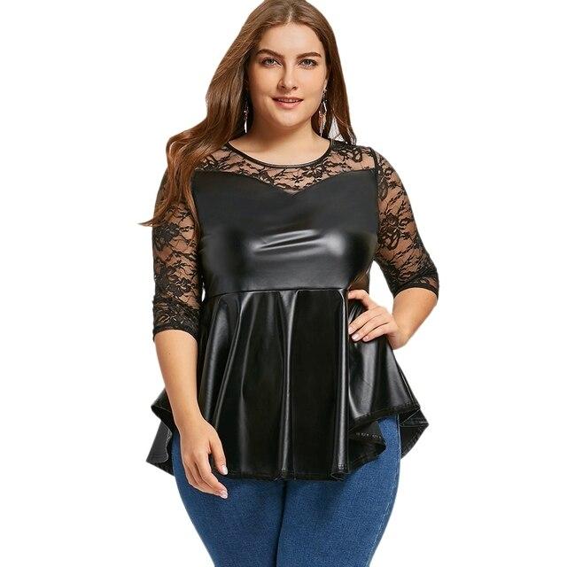 Plus Size Lace Yoke Pu Leather Peplum Top Women Summer Top Plus Size