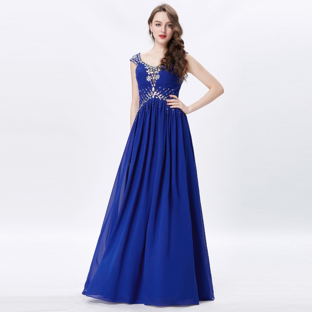 Grace Karin Womens Evening Dresses 2017 Chiffon Elegant Royal Blue Formal Dresses Evening Wear Beaded Long Wedding Party Gowns 9
