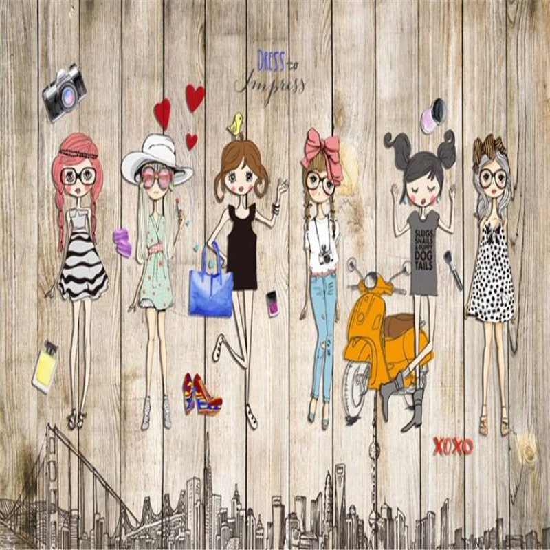 Hand-painted Fashion Girl Background Map High-grade Wall Cloth Manufacturers Wholesale Wallpaper Murals 3D Photo Wall...