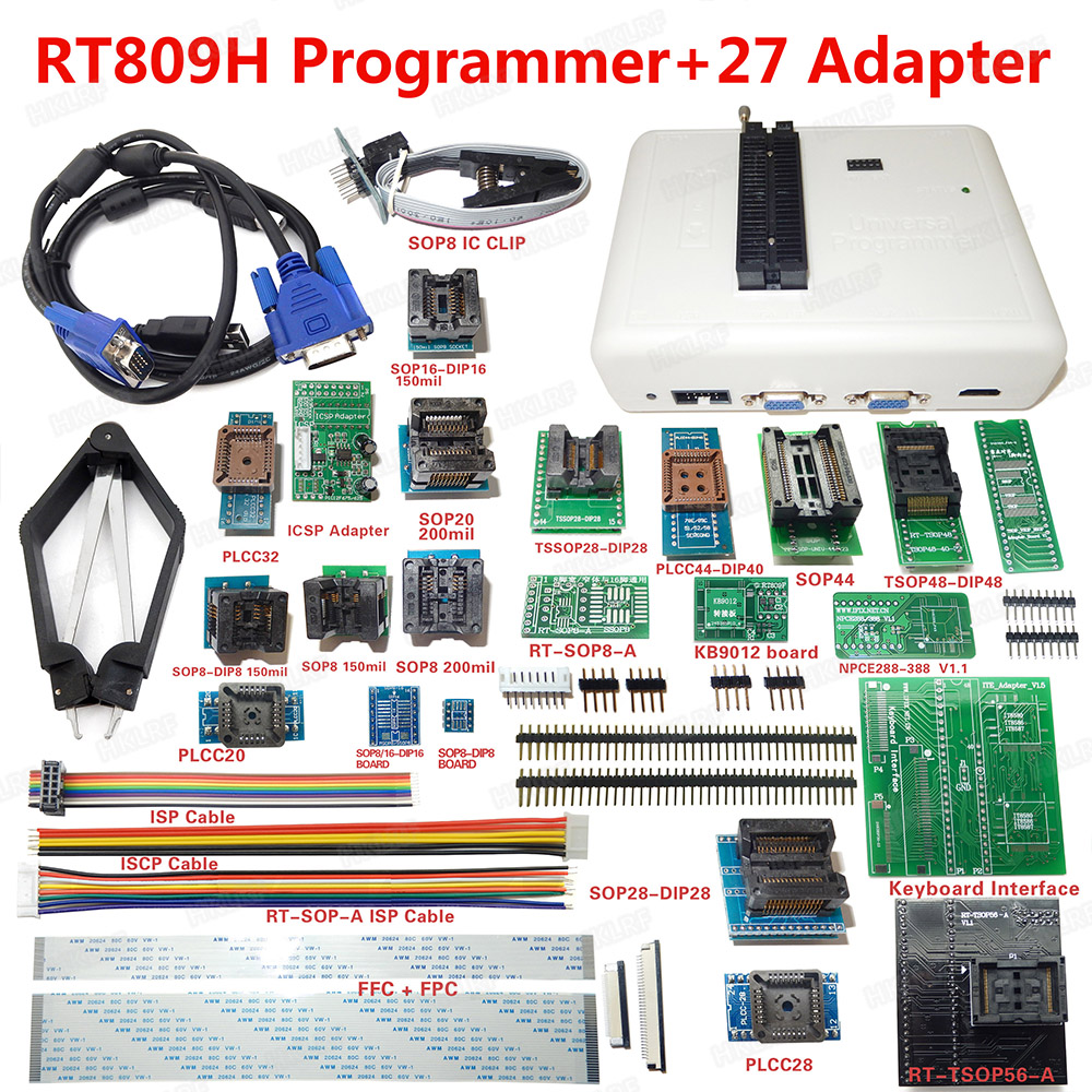 27 Adapters With Cabels Emmc-nand sop8 Test Clip Be Friendly In Use tsop56 Adapter Orderly Rt809h Emmc-nand Flash Programmer tsop48 Adapter