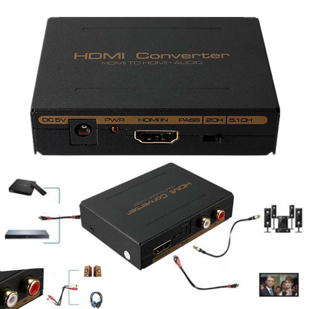US $14 61 23% OFF New 1080P HDMI to HDMI Optical SPDIF + RCA L/R Extractor  Converter Audio Splitter LED indication DC 5V Power US Plug-in HDMI Cables