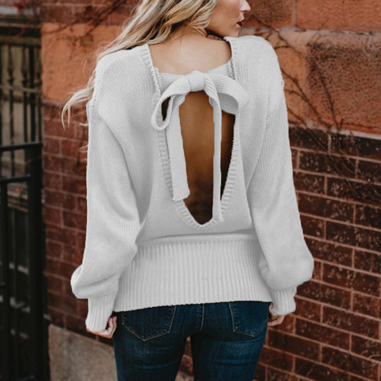 Sweet Backless Bowknot Lantern Long Sleeve Pullover Sweater 2