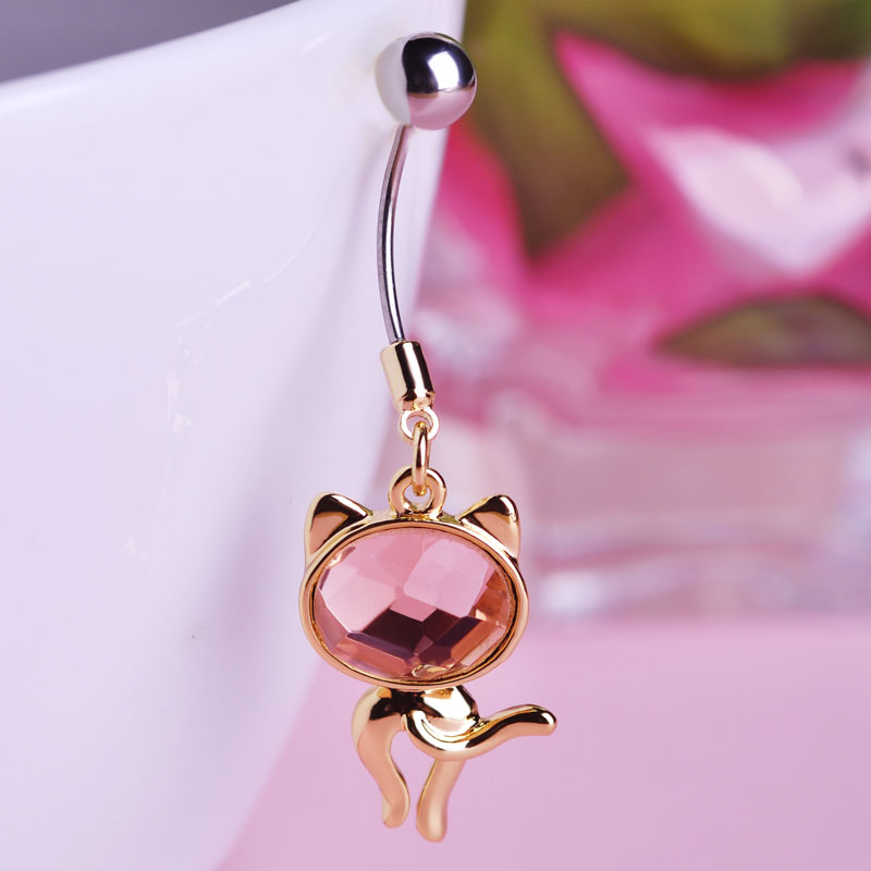 Opal Rhinestone Cat Navel Belly Button Rings Sex Body Piercings 316L Surgical Stainless Steel Pircing 16G 12mm Bar