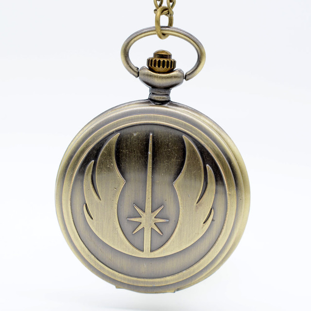 New Fashion Bronze Star Wars Jedi Order Quartz Pocket Watch Analog Pendant Neckl
