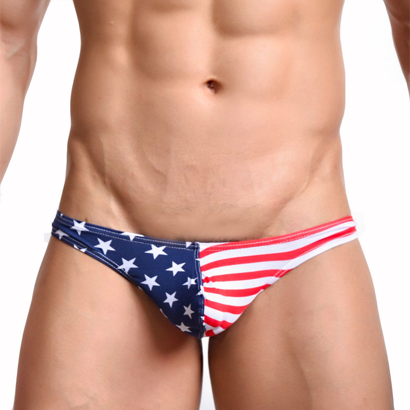 KWAN.Z Gay Men Underwear Cotton Men's Thong American Flag Cueca Gay Male Underwear Jockstrap String Homme Sexy Lingerie