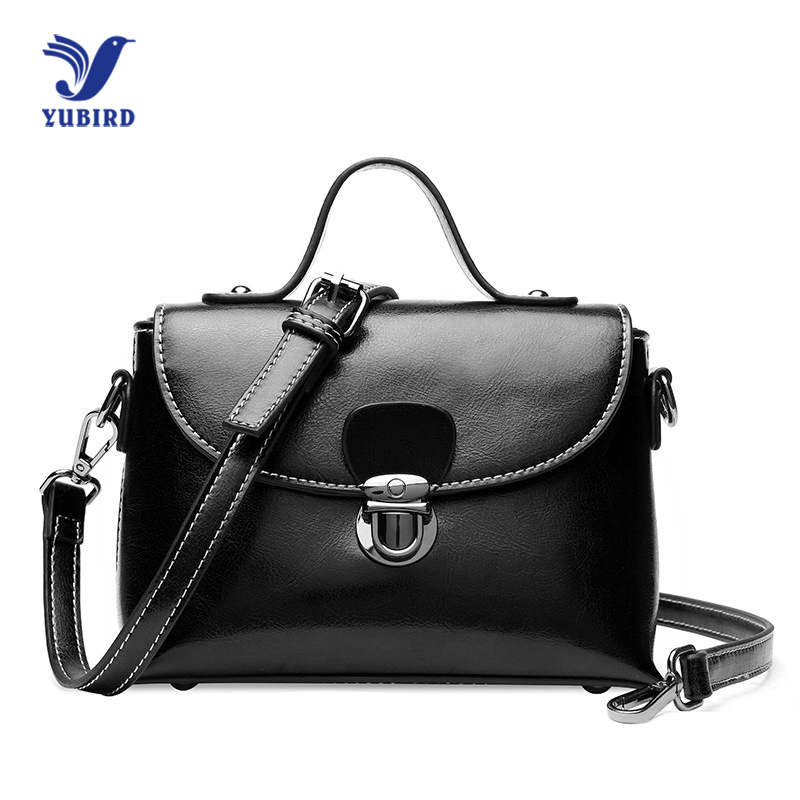 YUBIRD Women Shoulder Messenger Bags Oil Genuine Leather Handbag Female Fashion Crossbody Bag Ladies Solid Small Tote Bag 2018 guapabien fashion old classical fringed solid color handbag tote shoulder messenger crossbody bag for women