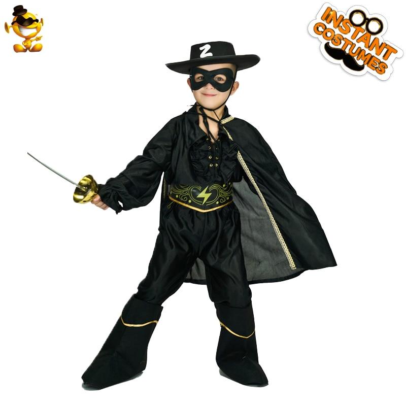 DSPLAY à la mode Zorro garçon Costume beau garçon combinaison noire avec Cape Halloween guerrier Costume fantaisie Costumes