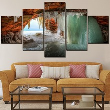 Modern Artwork On Canvas Printing Type And On The Wall Decor One Set 5 Pcs Painting Winter Cave Sea Water Freeze Modular Picture collabro westcliff on sea