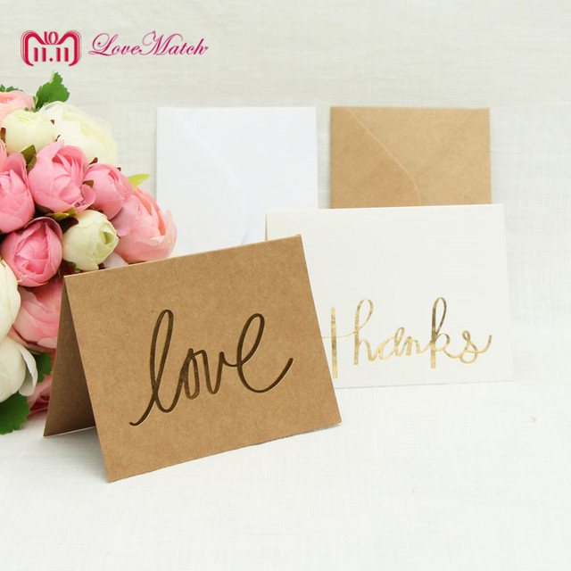 10sets Love And Thanks Invitation Card Party Wedding Birthday RSVP Table Place Name For Guest SE