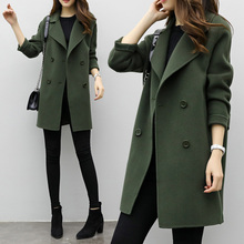 Winter Jacket Women Wool Coat Long Sleeve Turn-down Collar Green Outwear Jacket Casual Autumn Winter Elegant Overcoat cheap Faroonee Polyester CN(Origin) Spring Autumn Regular Ages 18-35 Years Old Double Breasted Full Slim Wool Blends Adjustable Waist