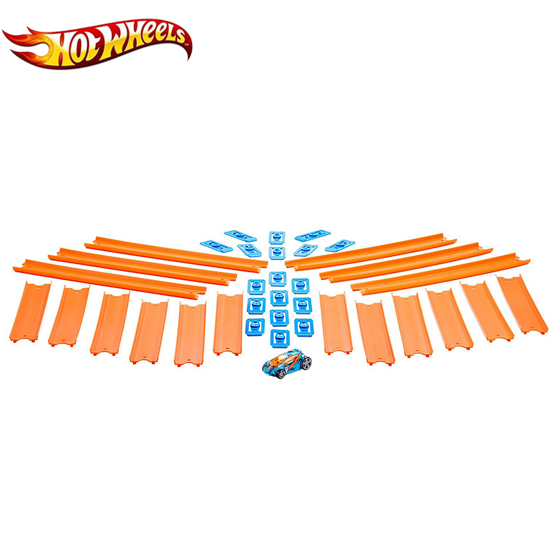 Hot Wheels Track Builder Straight Track With Car BHT77 Toy Set Connect Other Hotwheels Track Accessory 18pcs For Gift Matel Cars