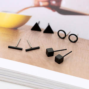 Stud-Earring Ear-Jewelry Triangle-Shaped Gold Black Women New-Arrival Silver-Color Alloy