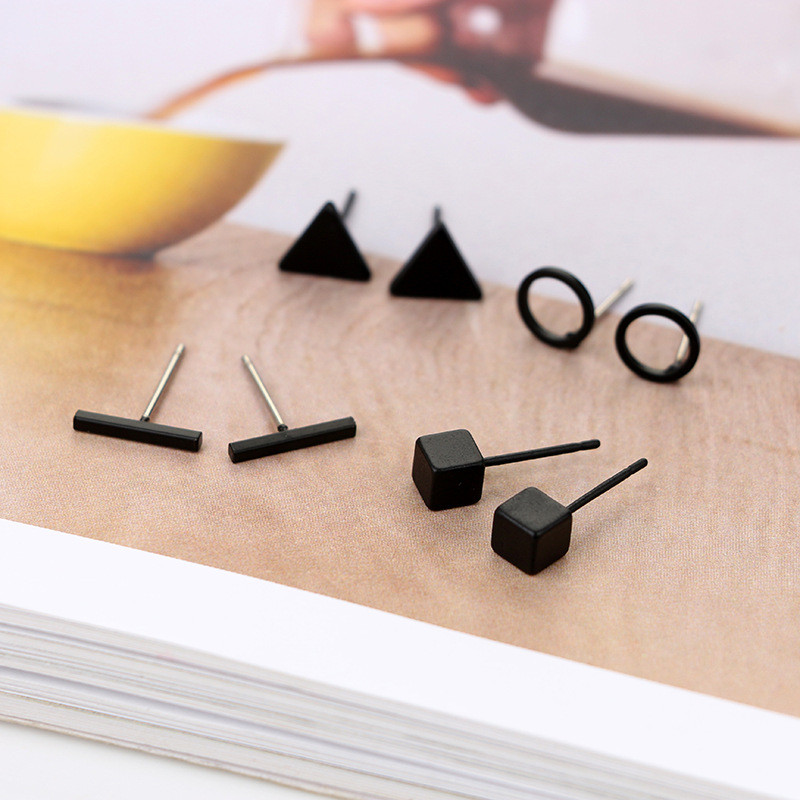 New Arrival Round triangle Shaped Silver Gold Black Color Alloy Stud Earring For Women Ear Jewelry 4 pairs(China)