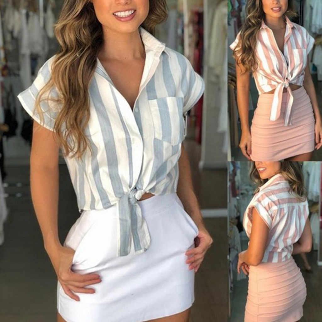 SAGACE ファッション女性のシャツセクシーな女性レディース夏ブラウス無地ストライプボタントップトップス半袖