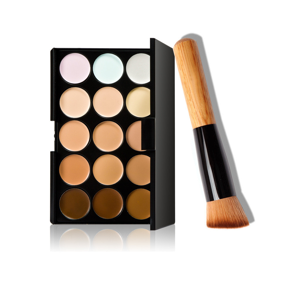 15 Colors Makeup Concealer Contour Palette + Makeup Brush Multi-Function Face Make up face powder and blusher Tools Cosmetic 15 color concealer palette makeup brush sponge puff makeup contour palette for face make up beauty top quality maquillaje