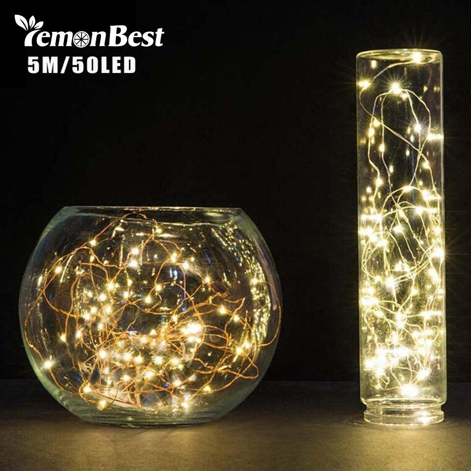LemonBest 5 м 50 светодиодный 3XAA Батарея светодиодный украшение фары Строка лампы на Рождество гирлянды вечерние свадебные рождество мигалкой фея огни