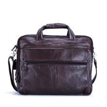 New 100% Genuine Leather men briefcase messenger bag business retro laptop 15'' handbag cowhide man shoulder travel bags  цена в Москве и Питере