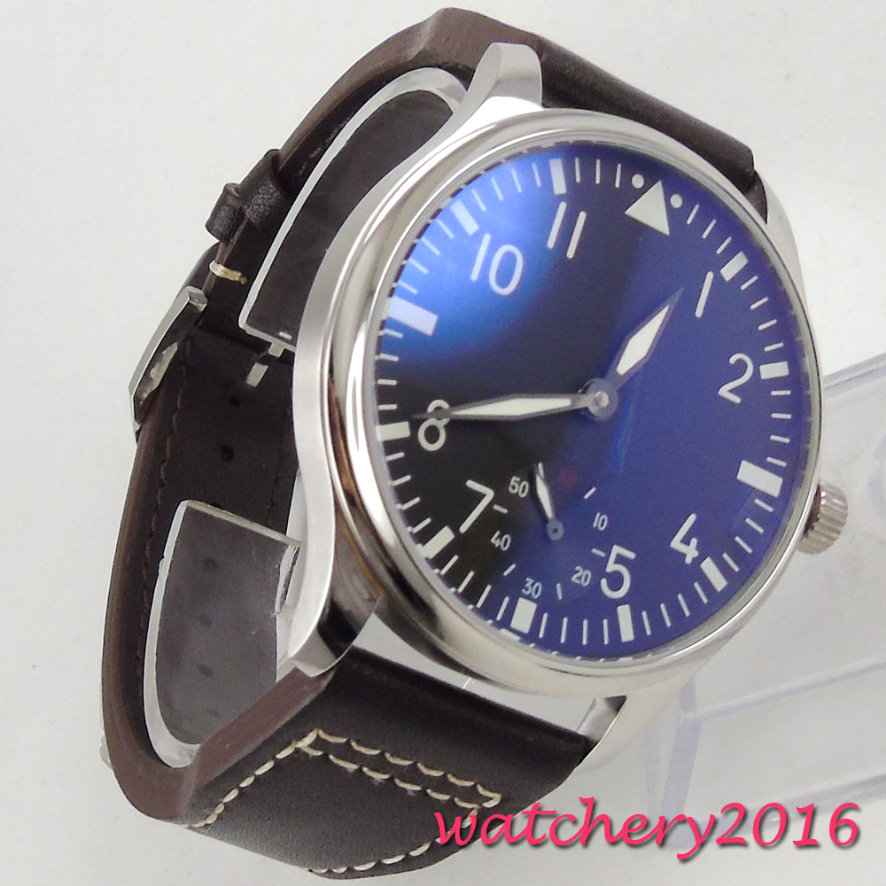 44mm parnis black dial Luminous Hands stainless steel case 17 jewels Movement 6497 Hand Winding Mechanical Mens Watch
